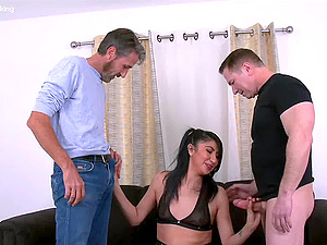 This horny maid was caught masturbating on the job and got a hardcore facefuck from her bosses