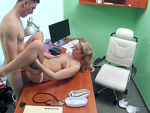 Blonde nurse gets her pussy licked and penetrated by a fat cock