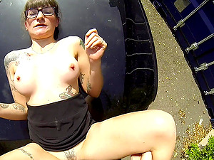 Tattooed slut Adreena Winters pulled over and fucked by a cop