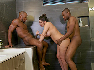 Curvy white woman Alix Lovell fucked by two large black dicks