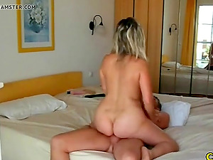 Fucking my hot girlfriend on vacation in my hotel room