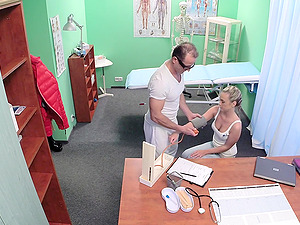 Cristal Caitlin gets her shaved pussy fucked good by her doctor