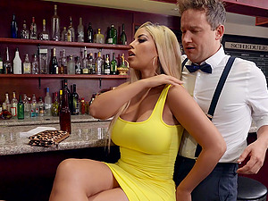 Public fucking from behind with busty blonde pornstar Bridgette B