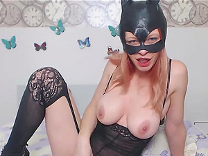 Hot blonde CAT Woman with Big Tits Masturbating in Lingerie