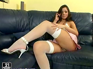 Phone fuck-a-thon with a desirable dark haired stunner Peaches