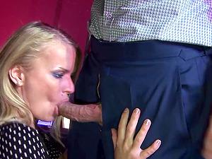 Clothed sex and blowjob from mature blonde pornstar Dora Venter