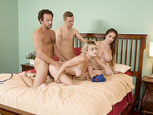 Amateur forusome sex on the bed with Nova Cane & Bianca Burke