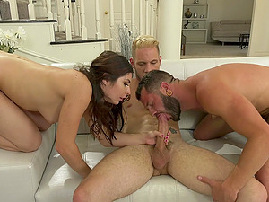 Bisexual sex with two kinky studs and attractive girl Keira Croft