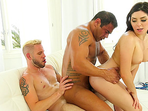 Crazy bisexual threesome with two kinky dudes and Keira Croft
