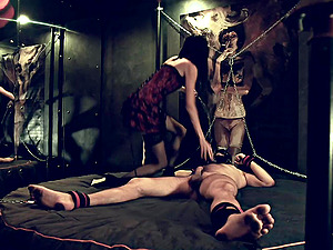 Nipple Torture of a chained slave