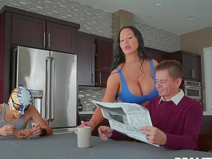 Extra busty pornstar Sybil Stallone rides a long shaft and moans