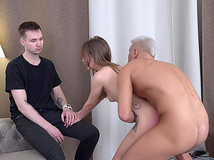 Dirty dude sells his girlfriend to a random stranger and watches them
