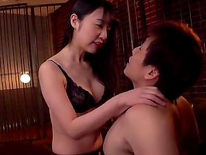 Hot Asian wife Tsubomi in black lingerie rides a hard pecker