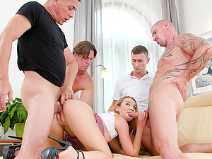 Double penetration gangbang for Alexis Crystal ends with facials