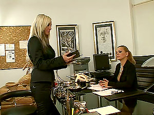 Adriana Russo and Dorothy Black have fun girly-girl games in an office