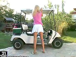 Round of golf with a insane platinum-blonde honey Sophie Paris