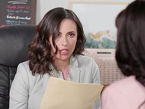 Lesbian interracial sex in the office - Ana Foxxx and Casey Calvert