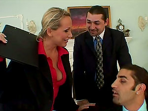 Horny Mandy Bright gets threesomed at the biz meeting