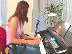Two hot chisk has lezzie fuck-a-thon intead of piano practice