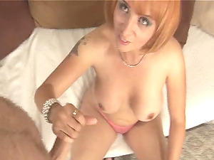 Amateur wife filmed while giving a nice handjob on her knees