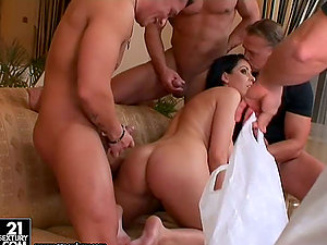 Brown-haired Bi-atch Fucked by three dicks with Double penetration Act