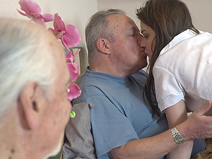 Old vs Young porn with irresistible nurse Nana Garnet and two guys