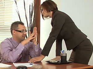 Horny Sexy MILF Visits Her Boss In The Office
