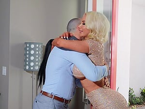 Busty blonde Nicolette Shea rides a dudr while his wife watches