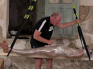 Amateur younger dude gets tortured by an older pervert. HD video