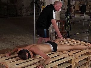 Skinny man tied up by a dirty pervert and he licks his asshole