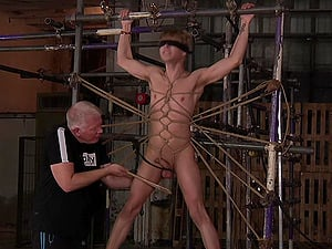 BDSM torture session between a mature pervert and a younger man