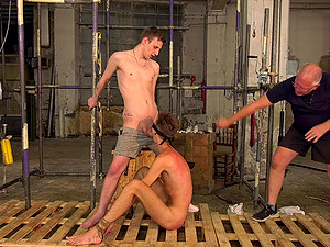 Dirty gay threesome in the BDSM sex dungeon with a mature pervert