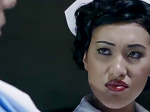 Asian nurse spreads her gams for an assfuck hook-up