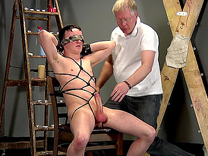 Amateur gay man blindfolded and pleasured by a dirty old pervert