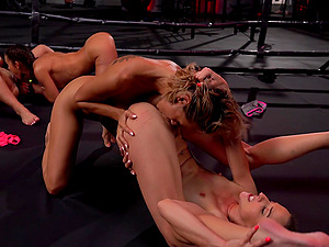 Rough lesbian group sex with a double sided dildo - Amirah Adara