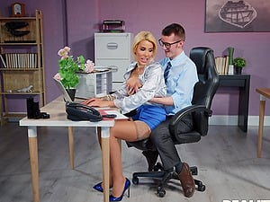 Crazy fucking on the office table with blonde mature Alice Judge