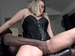 Lilly sharing a huge black cock in threesome