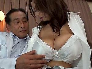 Big-titted Stunner Riai Sakuragi Fucked Hard Against the Desk
