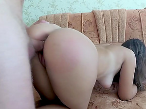 Fucking my brunette girlfriends big booty and busting a load on it
