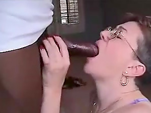 Grandma with glasses having fun with a bbc