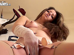 Beautiful Larissa Gold in Sexy Undergarments Masturbates with Her Gloves On
