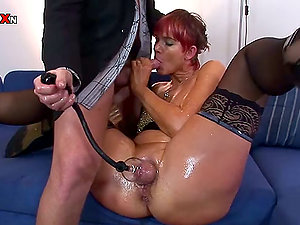 Red-haired Takes A Big Jizz-shotgun Deep Up Her Bum after Snatch Pumping