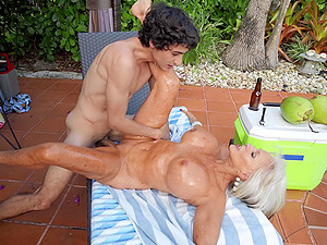 Hardcore outdoors fucking between a younger guy and a mature