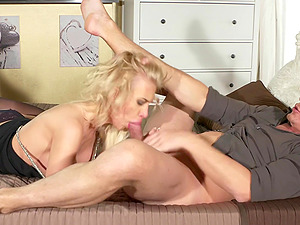 Dude with a rock hard cock fucks mouth and pussy of Alexis Bardot