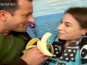 Ponytailed Teenager Gets Her Pink Bald Cunt Fucked by Banana and Manstick