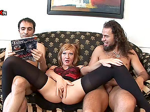 Double penetration Threesome with Ginger-haired Cougar May Turn into a Dual Ass-fuck Fuck