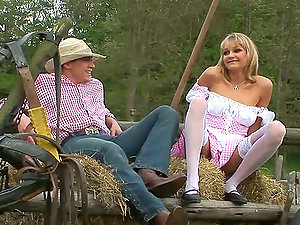 Blonde Mummy Loves Ass-fuck Intrusion Outdoors in the Farm