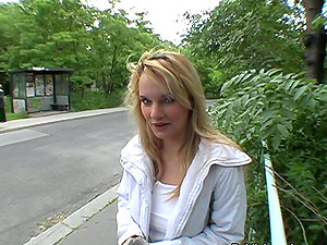 Point of view Suck off by Blonde Unexperienced Female Outdoors in Public