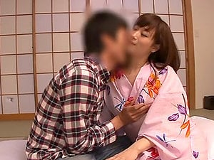 Japanese wifey blows and gets fucked in cowgirl position