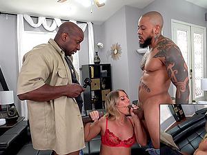 Hardcore MMF interracial threesome with pornstar Candice Dare